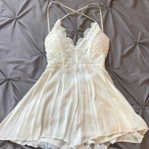 ANGL White Lace Backless Romper